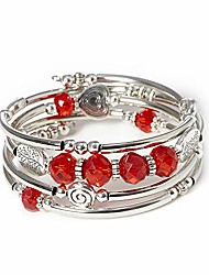 cheap -crystal wrap bracelet fashion jewelry bangle silver metal gifts tree of life for women (red)