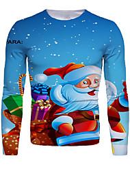 cheap -Men's 3D Graphic T-shirt Print Long Sleeve Christmas Tops Round Neck Blue