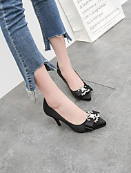 cheap -Women's Heels Pumps Pointed Toe Classic Sweet Preppy Daily Party & Evening Rhinestone Solid Colored Satin Almond / Black / Red