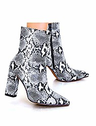 cheap -womens pointed ankle boots with block heels in snake print bootie (9 m us)