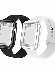 cheap -smartwatch band with case compatiable for apple watch band, silicone sport band and tpu case for series 4/3/2/1,black/white in 40sm size