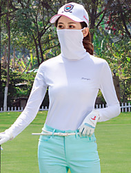 cheap -Women's Golf Tee Tshirt Top Long Sleeve UV Sun Protection Breathable Quick Dry Sports Outdoor Autumn / Fall Winter Spring Cotton Solid Color White Black Blue Pink / Stretchy