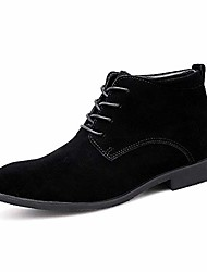 cheap -men's high-top lace up suede oxford derby dress martin boots ankle bootie (8.5, black)