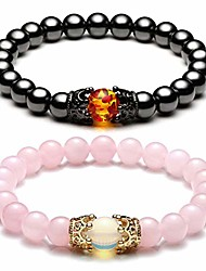 cheap -king&queen crown distance couple bracelets his and her relationship friendship bracelet mens womens gemstone beads stretch bracelets - hematite magnetic stone + rose quartz