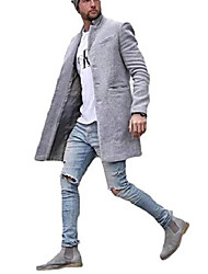 cheap -men's fall winter single breasted pure color mid long wrap coat grey xl