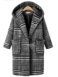 cheap -Women's Color Block Active Fall & Winter Coat Long Daily Long Sleeve Polyster Coat Tops Black