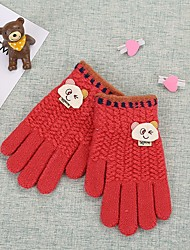 cheap -2pcs Kids Unisex Basic Red Solid Colored Knitwear Gloves Red / Blushing Pink / Navy Blue One-Size