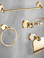 cheap -Bathroom Accessory Set Polished Brass Include Towel Rack Soap Dishes Hollder Towel Ring and Toilet Paper Holder Wall Mounted Golden 4pcs