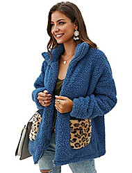 povoljno -ženski pulover od umjetnog krzna s patentnim zatvaračem s dugim rukavima zimski topli, mutni čupavi odjevni predmeti s leopard džepovima (plavi, l)
