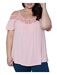 cheap -Women's Plus Size Blouse Plain Lace Tops Basic Top Watermelon red Pink Black