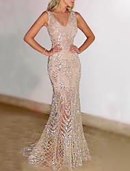cheap -Women's Trumpet / Mermaid Dress Maxi long Dress - Sleeveless Solid Colored Glitter Deep V Elegant Hot Sexy Slim Gold Silver S M L XL XXL