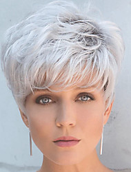 cheap -Synthetic Wig Loose Curl Short Bob Wig Short Silver Grey  Synthetic Hair Men's Fashionable Design Cool Exquisite Silver Black