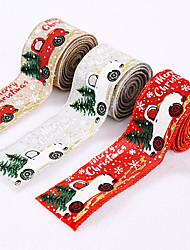 cheap -Christmas Decorations Color Car Printing Ribbon Christmas Tree Decoration Ribbon Color Bar