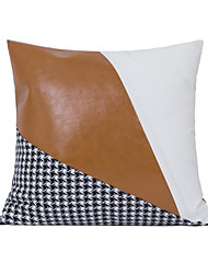 cheap -Light Luxury American Sofa Cushion Pillowcase Hotel Villa Model Room Square Pillow Houndstooth And Orange Faux Leather Pillow Cae