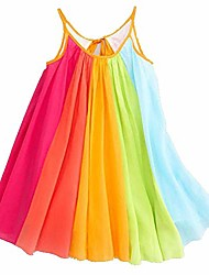 cheap -toddler baby girls' sleeveless sundress summer off shoulder casual rainbow print straps pleated maxi dress 12m-5t (3/4t, multicolor2)