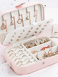 cheap -Universal Jewelry Organizer Display Travel Case Boxes Portable Box Button Leather Storage Zipper Jewelers