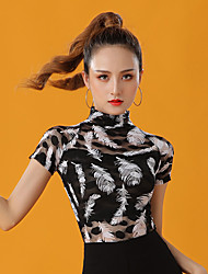 cheap -Latin Dance Top Pattern / Print Women's Performance Short Sleeve Lace
