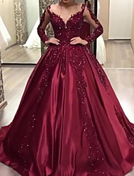 cheap -Women's Chiffon Dress Maxi long Dress - Long Sleeve Solid Color Lace Fall Elegant Formal Chiffon 2020 Red S M L XL XXL