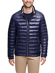 cheap -men's wet look water resistant ultra loft down alternative puffer jacket, midnight, medium