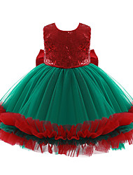cheap -Santa Claus Party Costume Women's Kid's Leisure Christmas Christmas Polyester Dress