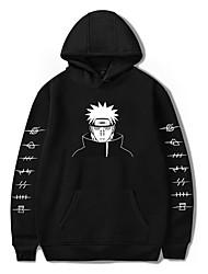 cheap -Inspired by Naruto Cosplay Akatsuki Pain Hoodie Anime Polyester / Cotton Blend Print Printing Harajuku Graphic Hoodie For Women's / Men's