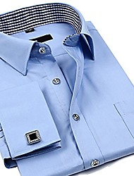 """cheap -men's solid color french cuff dress shirt(cufflinks included) 17"""" neck 34"""" sleeve fs24"""