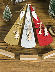 cheap -Wooden Three-dimensional Painted Santa Ornaments