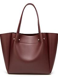 cheap -Women's Bags PU Leather Top Handle Bag Zipper Handbags Outdoor Wine Black Blushing Pink Brown