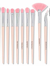 cheap -12pcs portable multi-function eye shadow brush with soft synthetic hairs essential tool for facial beauty,eyeshadow, eyebrow, eyeliner,blending profesional shader blending makekup brush kit pink.