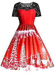 cheap -womens christmas dresses 50s vintage snowflake xmas tree print a-line swing dress holiday cocktail party dress (xx-large, a santa snow red)