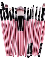cheap -15 pieces makeup brush set,  makeup brushes kit cosmetics foundation eye shadow wood handle make up brushes toiletry kit blending blush eyeshadow eyeliner face powder makeup brush set (pink)