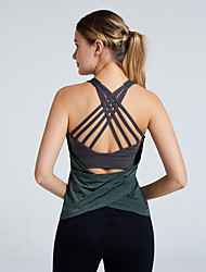 cheap -Women's Yoga Built In Bra Tank Summer Cross Back Fashion Black Pink Green Nylon Spandex Yoga Fitness Gym Workout Top Sport Activewear Breathable Quick Dry Comfortable Stretchy