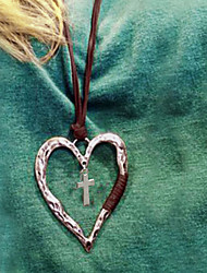 cheap -Women's Necklace Long Necklace Retro Cross Heart Vintage European Sweaters PU Leather Alloy Silver 80 cm Necklace Jewelry 1pc For