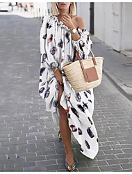 cheap -Women's Swing Dress Maxi long Dress - Long Sleeve Print Print Summer One Shoulder Plus Size Casual Oversized 2020 White Black Green M L XL XXL 3XL 4XL 5XL