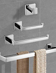 cheap -Bathroom Accessory Set Stainless Steel + A Grade ABS Contemporary with Towel Bar Toilet Paper Holder Tower Rack and Robe Hook Silvery Wall Mounted 4pcs