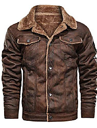 cheap -men's insulated full-zip windproof sherpa lined suede leather trucker jacket (small, brown)