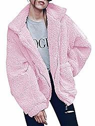 povoljno -ženski kardigan kaput povremeni čupavi rever od flisa, nejasne umjetne jakne od šljokica, kaputi sa patentnim zatvaračem, tople zimske velike ženske jakne (ružičaste, s)
