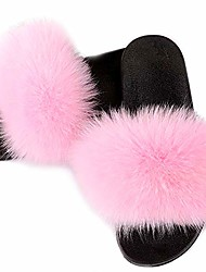 cheap -real fur slippers for women open toe fuzzy slides slippers indoor fluffy house slippers plush sheep shearing & #40;cross pink, 11& #41;