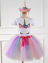 cheap -Princess Unicorn Dress Girls' Movie Cosplay Sweet White Yellow Pink Hair Jewelry Dress Halloween