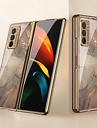 cheap -Case For Samsung Galaxy Galaxy Z Flip / Galaxy Z Fold 2 / W20 / Fold 1 Shockproof / Plating / Ultra-thin Back Cover Color Gradient / Scenery / Geometric Pattern TPU / Tempered Glass