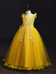 cheap -Princess Dress Party Costume Flower Girl Dress Girls' Movie Cosplay Princess Purple Yellow Red Dress Children's Day Masquerade Polyester