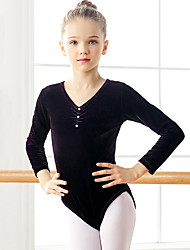 cheap -Ballet Leotard / Onesie Ruching Solid Crystals / Rhinestones Girls' Training Performance Long Sleeve High Pleuche