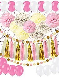 cheap -diy paper pom poms with tissue paper tassel, polka dot garland, hanging swirl decorations and balloon kit for birthday wedding showers party decorations - pink