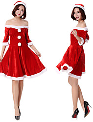 cheap -Mrs.Claus Dress Women's Adults' Costume Party Christmas Christmas Velvet Dress / Hat / Hat