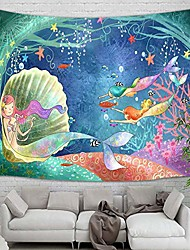 """cheap -teen girl tapestry wall hanging, underwater world watercolor mermaid in seashell wall tapestry art for home decorations dorm decor living room bedroom bedspread, & # 40; 71 """"x60""""& #41;"""