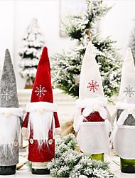 cheap -2pcs Christmas Ornament Snow Hat Forest Old Man Wine Set Faceless Doll Wine Bottle Dress Up Champagne Wine Set