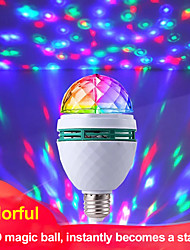 cheap -Colorful Magic Projector Lamp Ball E27 LED Lamp Disco Light Stage Bulb Auto-rotating RGB Party Light For Family Party KTV DJ Dance Floor (with E27 Plug Adapter)