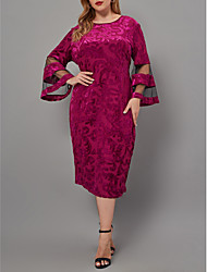 cheap -Women's Sheath Dress Midi Dress Fuchsia 3/4 Length Sleeve Floral Mesh Patchwork Fall Round Neck Vintage Sexy Flare Cuff Sleeve 2021 XL XXL 3XL 4XL 5XL 6XL / Plus Size