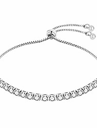 cheap -silver plated clear diamond-cut crystal adjustable tennis link bracelet jewelry for women wedding engagement prom bride women bridesmaid girls