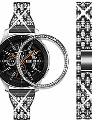 cheap -compatible for samsung galaxy watch 46mm bands + bezel, 22mm bling replacement strap & bezel ring case for galaxy watch 46mm/gear s3 frontier/classic (black)